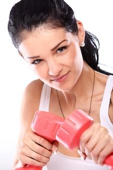 Portret kobiety robienie ćwiczeń