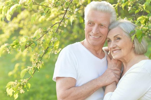 Portret kochającej starszej pary w letnim parku