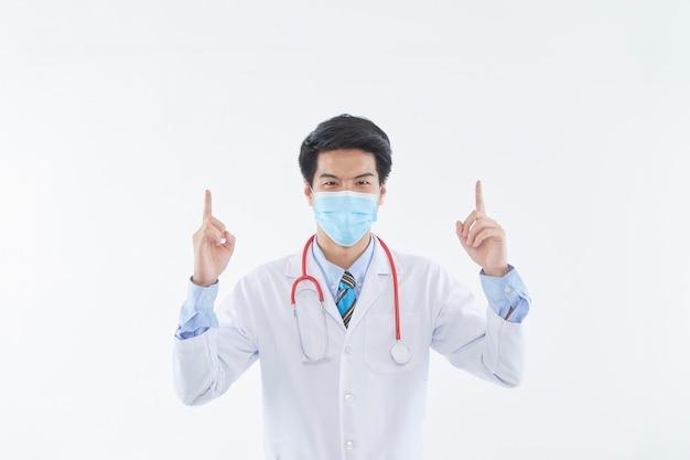Portret lekarza w masce ochronnej i rękawiczkach koncepcja wirusa corona