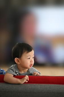 Portret mały ładny chłopczyk stojący na kanapie w salonie.