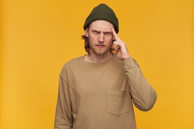 Portret marszczącego brwi, zestresowanego mężczyzny z blond fryzurą i brodą. ubrana w zieloną czapkę i beżowy sweter. dotykając skroni z bólu głowy. pojedynczo na żółtej ścianie