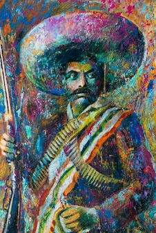 Portret meksykańskiego gaucho, zona centro, san miguel de allende, guanajuato, meksyk