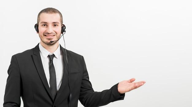 Portret męski centrum telefoniczne agent
