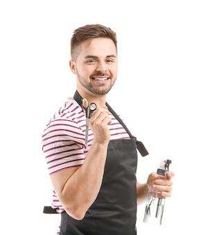 Portret męskiego fryzjera na białym
