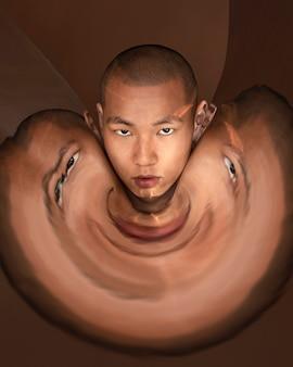 Portret mężczyzny z zniekształceniem obrazu