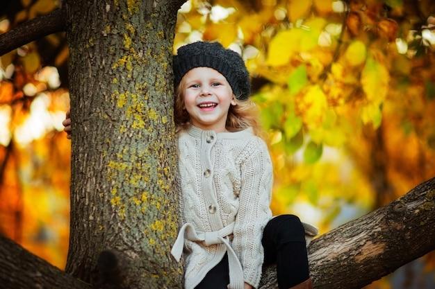 Portret młoda dziewczyna w kapeluszu i pulowerze siedzi w górę jesieni żółtego drzewa i ono uśmiecha się. skopiuj miejsce