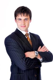 Portret młodego biznesmena ładny.