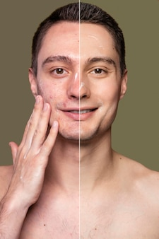 Portret młodego mężczyzny przed i po retuszowaniu