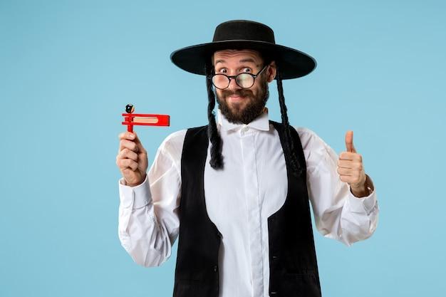 Portret młodego ortodoksyjnego żyda z hasdim z