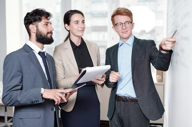 Portret młodego zespołu biznesowego planowania projektu startowego, wskazując na tablicy w biurze