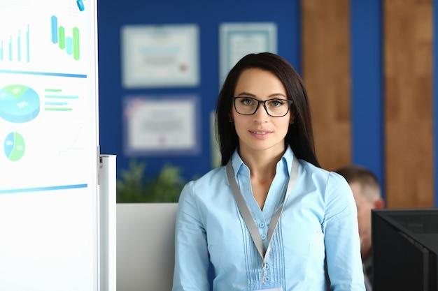 Portret młodej bizneswoman w pobliżu białej tablicy z wykresami biznesowymi w biurze