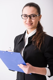 Portret młodej kobiety biznesu.