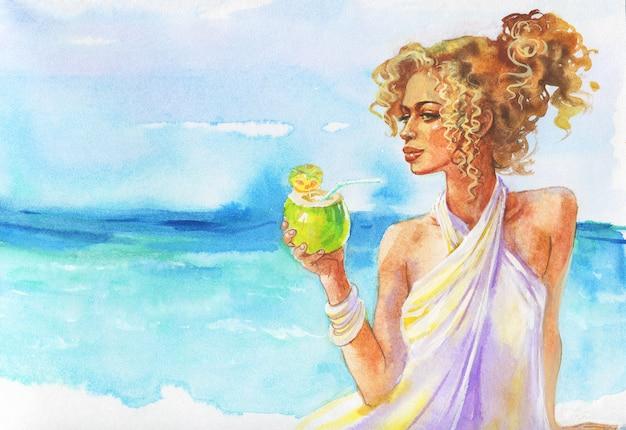 Portret młodej kobiety blondynka. akwarela ładna dziewczyna z kokosowym koktajlem na plaży. ręcznie rysowane luksusowy styl życia ilustracja