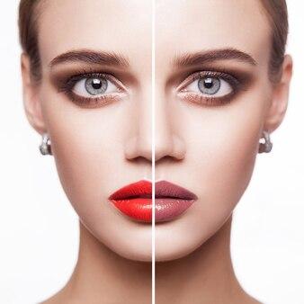 Portret młodej kobiety z makijażem i innym kolorem usta. kryty na białym tle.