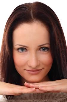 Portret młodej kobiety zbliżenie