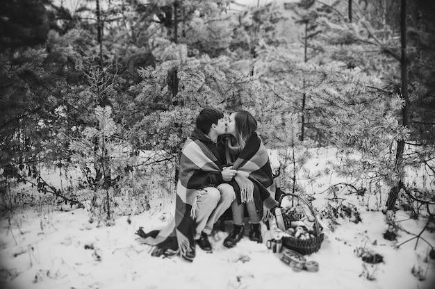 Portret młodej pary w koc całuje na pikniku w walentynki