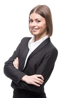 Portret młodej pięknej kobiety biznesu.