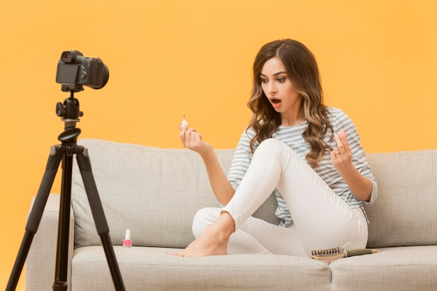 Portret nagrania blogera na blogu osobistym
