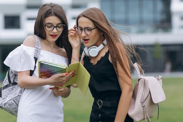 Portret od above dwa szczęśliwych caucasian młodych kobiet najlepszych przyjaciół ma zabawę, ściska i śmia się, podczas gdy plenerowy