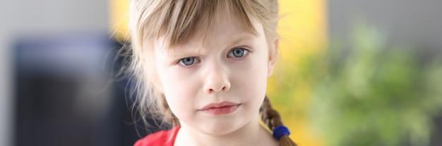 Portret pewnej siebie dziewczynki o blond włosach patrzącej na kamerę