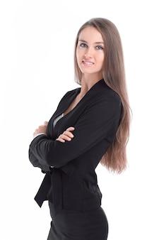 Portret Pewnie Biznesu Kobiety. Na Białym Tle Premium Zdjęcia