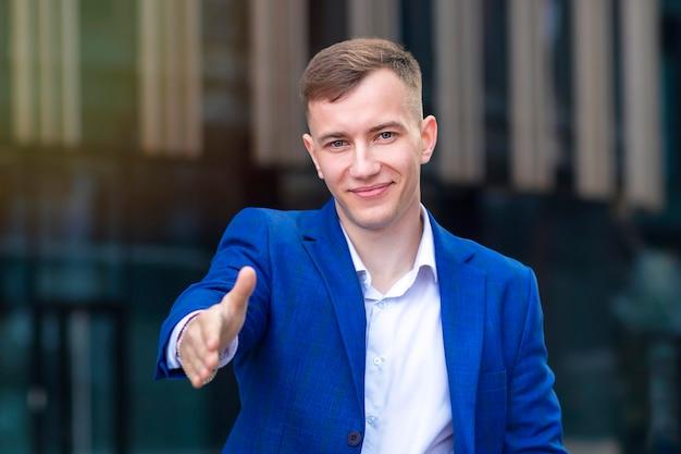 Portret pewność sukcesu biznesmena
