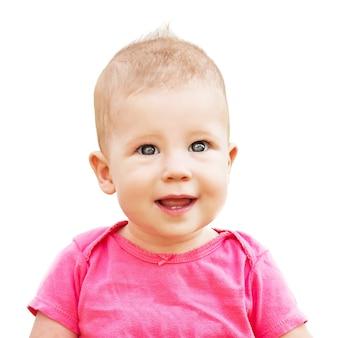 Portret pięknej córeczki na białym tle
