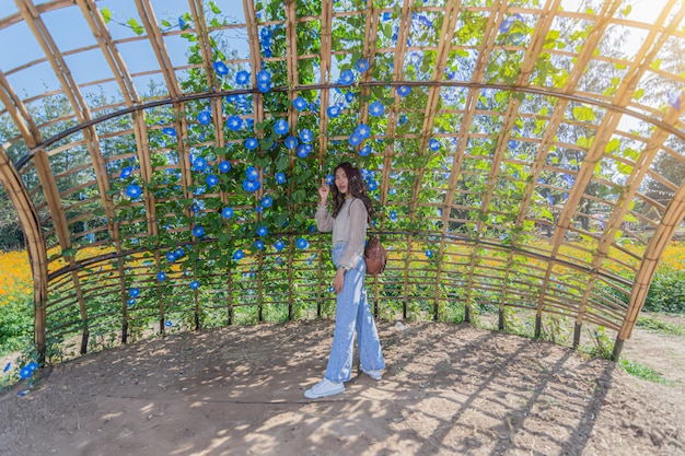 Portret pięknej kobiety pozuje do fotografii odwiedź niebieskie pola kwiatowe na farmie jima thompsona