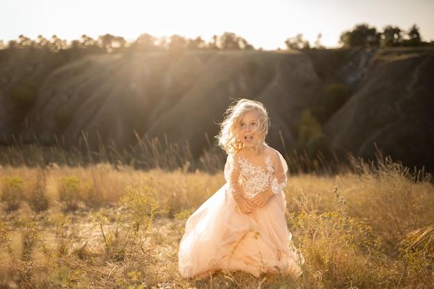 Portret pięknej małej dziewczynki księżniczki w różowej sukience. pozowanie w polu o zachodzie słońca