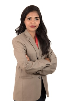 Portret pięknej młodej kobiety biznesu