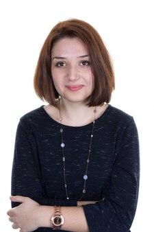 Portret pięknej młodej kobiety. piękno portret poważna kobieta