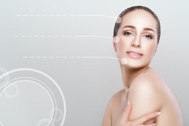 Portret pięknej młodej kobiety zbliżenie. dziewczyna z czystą skórą