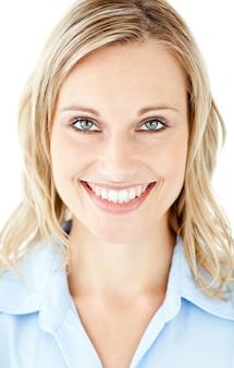 Portret piękny bizneswoman ono uśmiecha się przy kamerą