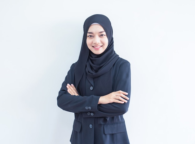 Portret pracy muzułmańskiej dziewczyny
