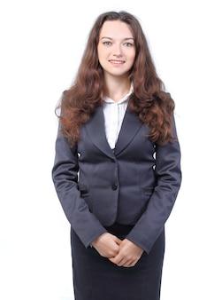 Portret przyjaznej młodej kobiety biznesu