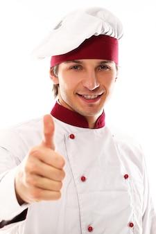 Portret przystojny młody mężczyzna szefa kuchni
