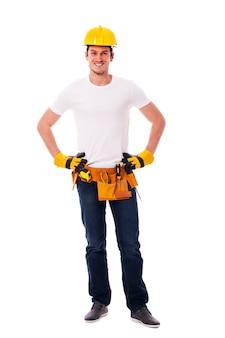 Portret przystojny pracownik budowlany