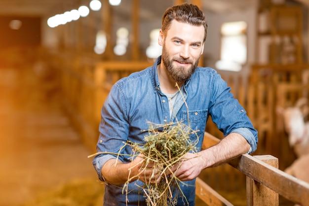 Portret przystojny rolnik stojący z sianem w stodole kóz. produkcja i hodowla mleka naturalnego
