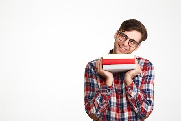 Portret rozochocony przypadkowy męski uczeń w eyeglasses