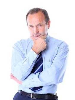 Portret starego biznesmena w kolorze wyizolowanych na bia? ym tle