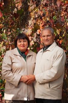 Portret starej pary rasy kaukaskiej w lesie jesienią parku, mąż i żona, uśmiechając się i trzymając się za ręce.