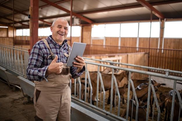 Portret starszego cattleman z komputera typu tablet i kciuki do góry stojący przez zwierzęta domowe w gospodarstwie