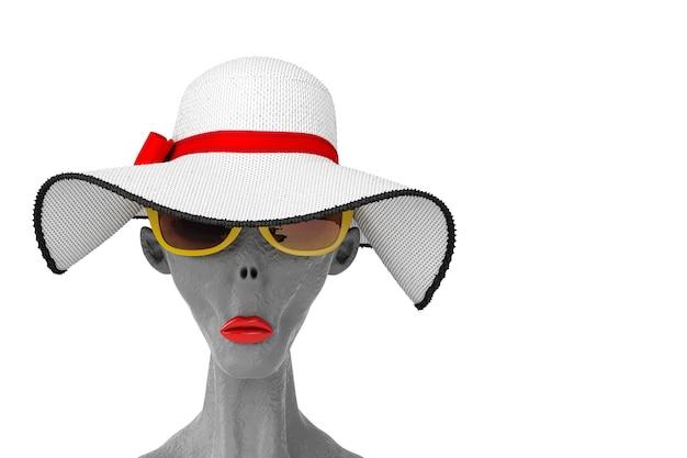 Portret szarego cudzoziemca w żółtych letnich okularach przeciwsłonecznych i całkiem piękny biały letni kapelusz przeciwsłoneczny z czerwoną wstążką i kokardą na białym tle. renderowanie 3d