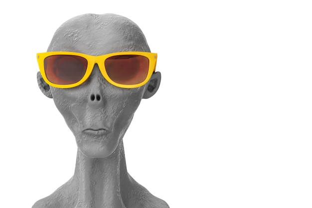 Portret szarego cudzoziemca w żółtych letnich okularach przeciwsłonecznych na białym tle. renderowanie 3d