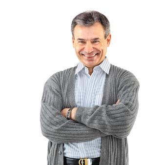 Portret szczęśliwego uśmiechniętego biznesmena, odizolowanego na białym tle