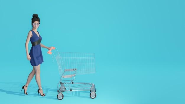 Portret szczęśliwy 3d ładna dziewczyna trzyma torby na zakupy na fioletowo