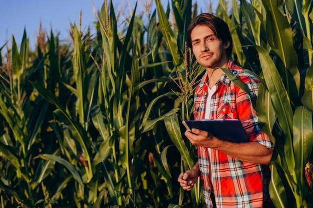 Portret szczęśliwy agronom stojący w polu kukurydzy i patrząc w kamerę.