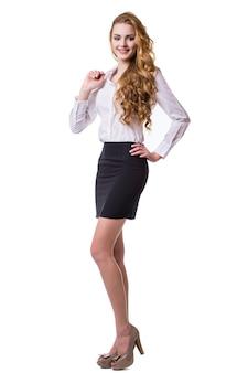 Portret uśmiechnięta biznesowa kobieta, na białym tle