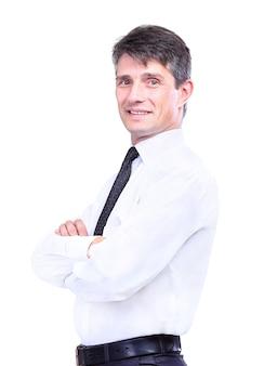 Portret uśmiechniętego szczęśliwego starszego biznesmena