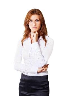 Portret uśmiechniętej kobiety biznesu, na białym tle